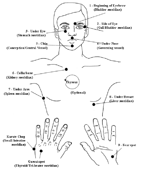 A diagram of EFT tapping points on the head, torso and hands